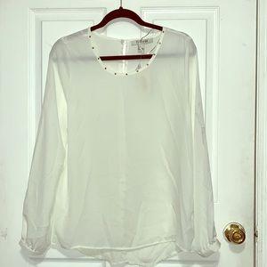Sheer rose gold studded long sleeve blouse